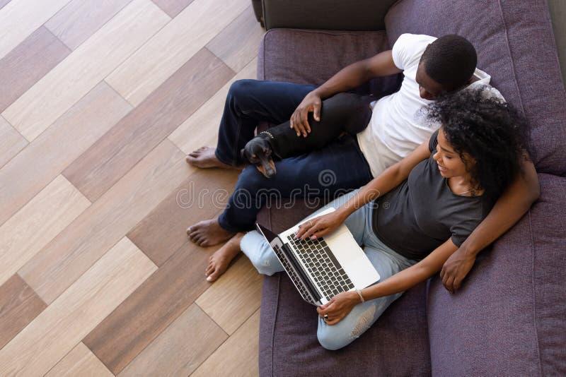 Glückliche afrikanische Paare unter Verwendung des Computers, der auf Sofa mit Haustier sitzt stockfotos