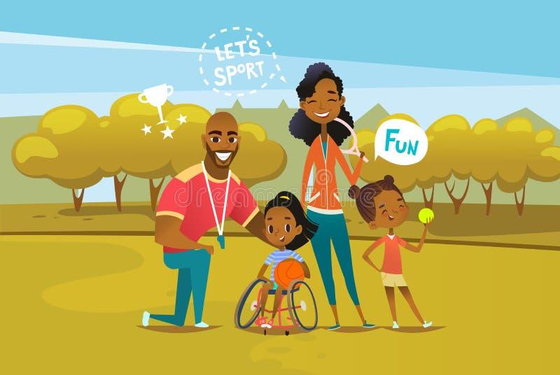 Glückliche Afroamerikanerfamilie mit dem behinderten Mädchen, das im Rollstuhl sitzt und Basketballball hält Konzept von Eltern stock abbildung