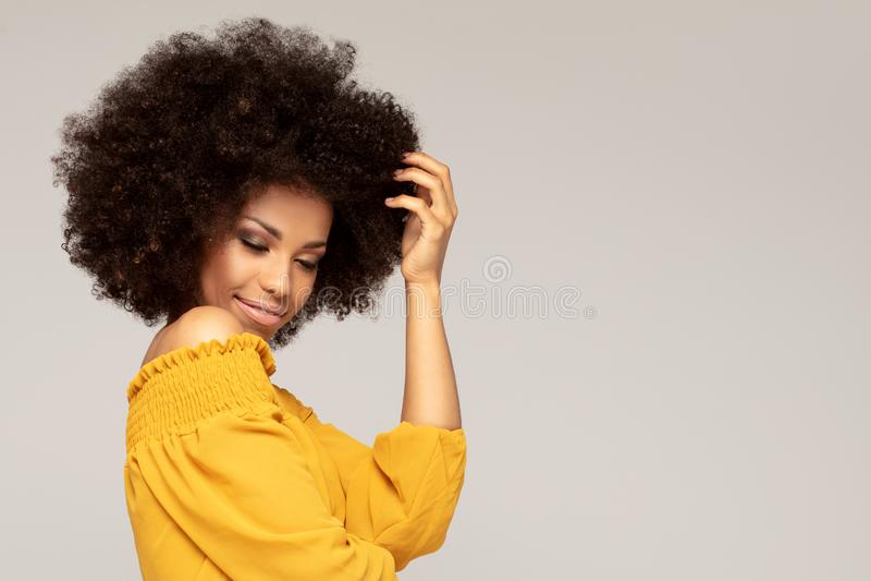 Glückliche Afrofrau mit schönem Lächeln stockbilder
