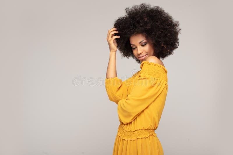 Glückliche Afrofrau mit schönem Lächeln stockfotografie