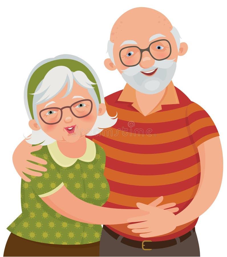 Glückliche alte Paare lizenzfreie abbildung
