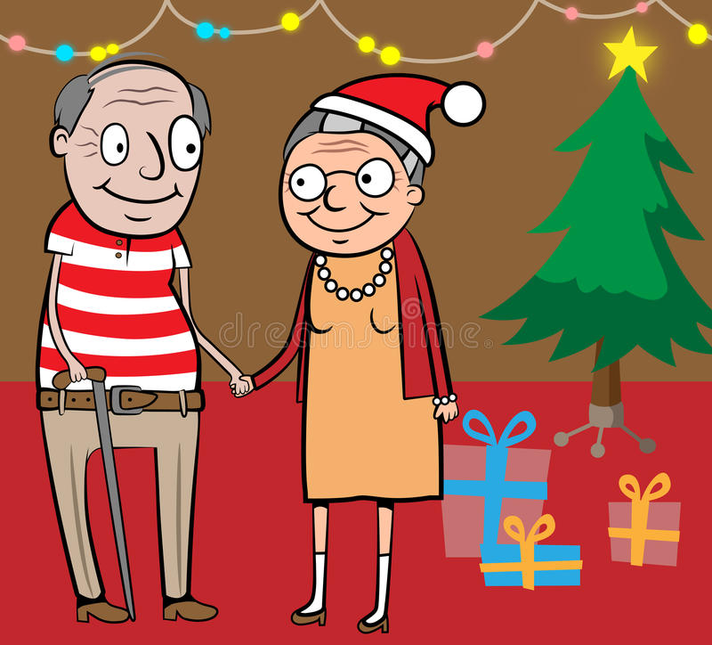 Glückliche alte Paare durch Weihnachtsbaum stock abbildung