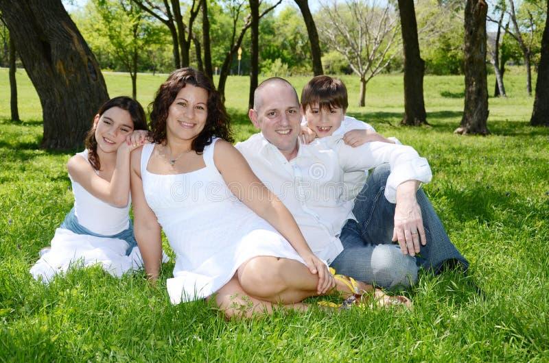 Glückliche amerikanische-Venenuelan Familie lizenzfreie stockfotos