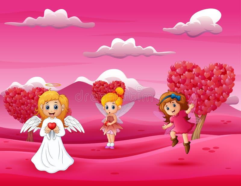 Glückliche Amormutter der Karikatur mit weniger Fee stock abbildung