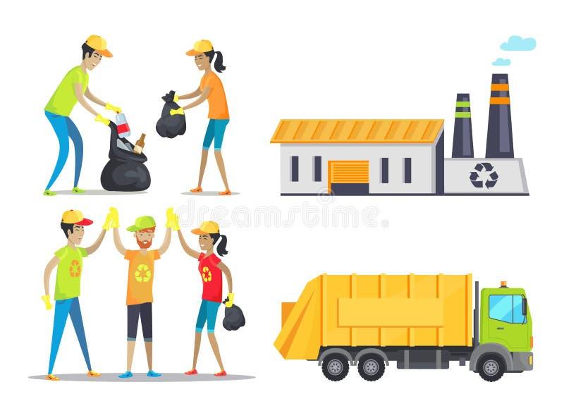 Glückliche arbeitende Freiwillige, Vektor-Illustration lizenzfreie abbildung