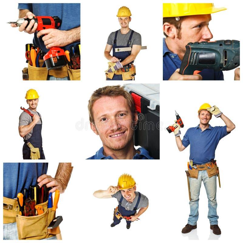 Glückliche Arbeitskraft auf weißem Hintergrund stockbilder