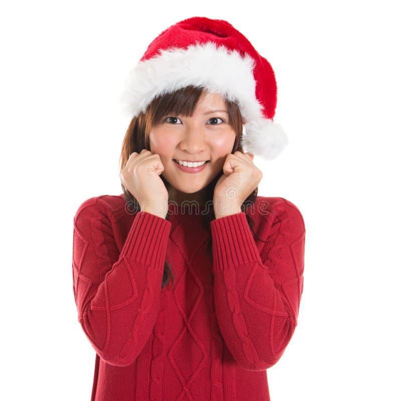 Glückliche asiatische Weihnachtsfrau stockfotos