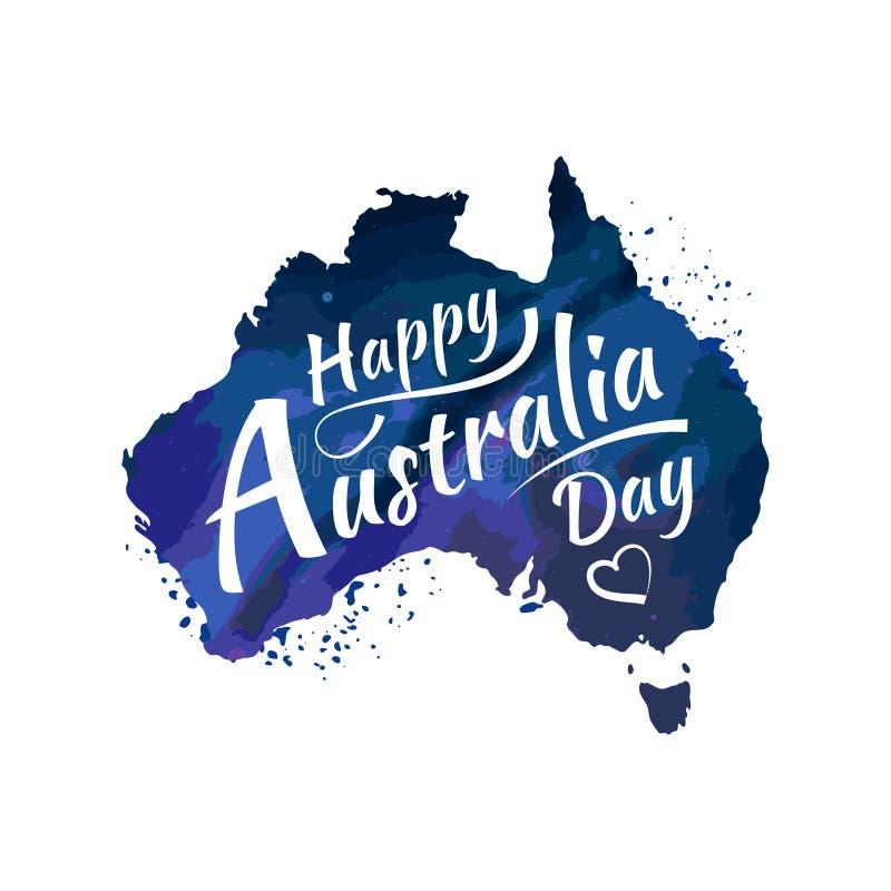 Glückliche Australien-Tagesbeschriftung, Kalligraphie Karte von Australien mit Markierungsfahne Getrennt auf weißem Hintergrund V vektor abbildung