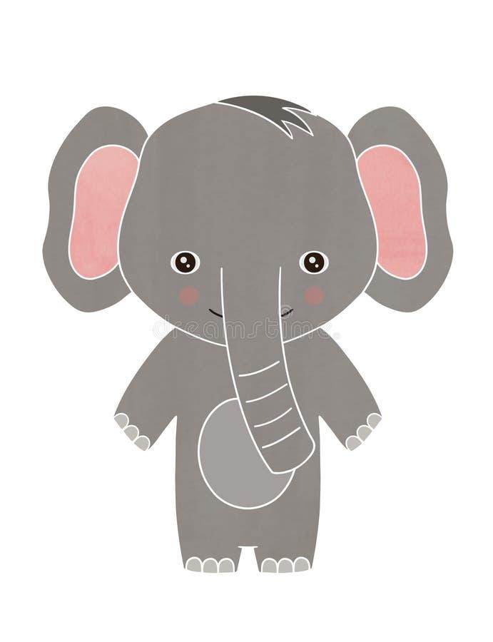 Glückliche Babyelefantkarikatur stockbilder