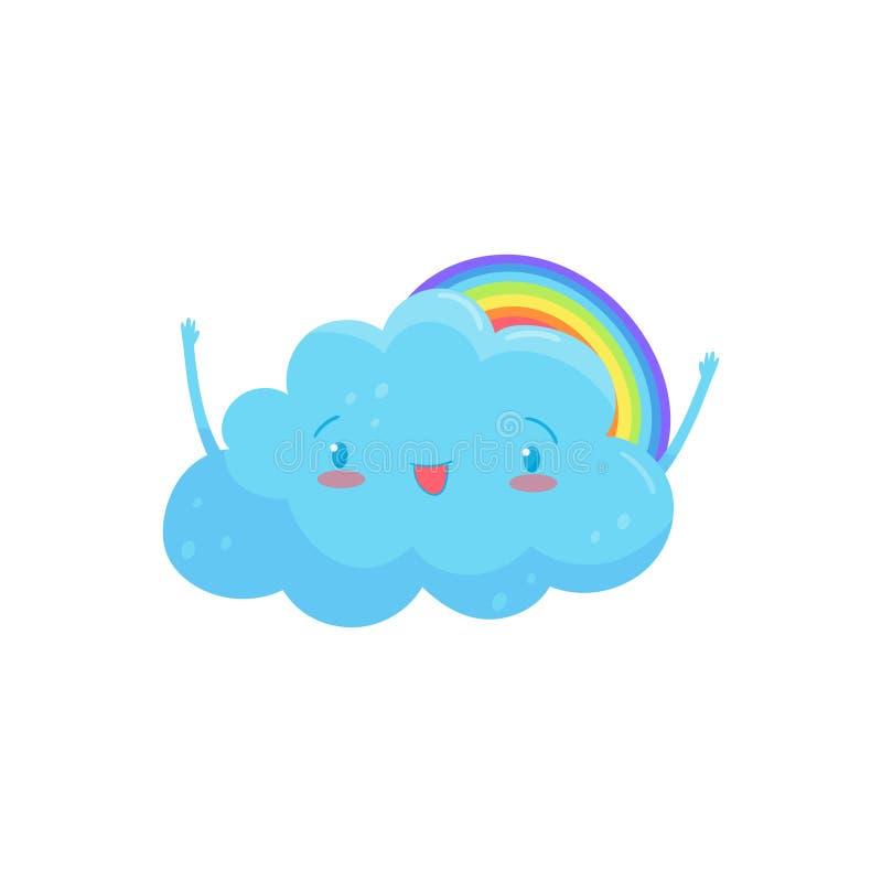 Glückliche blaue Wolke mit entzückendem Gesicht und den kleinen Händen, bunter Regenbogen hinter ihm Karikaturwettercharakter fla lizenzfreie abbildung