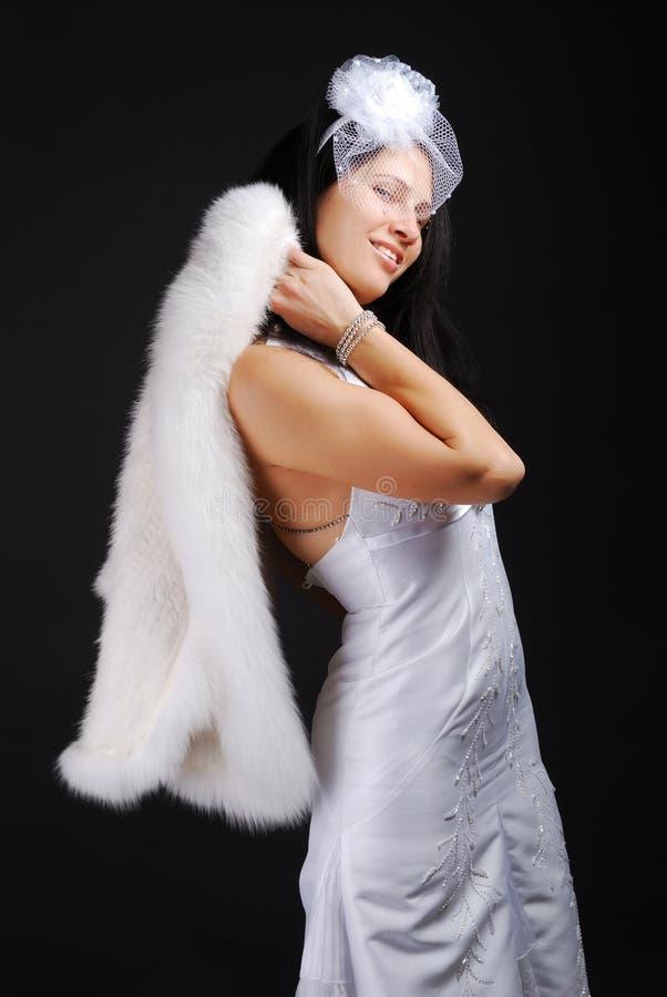 Glückliche Braut als Engel lizenzfreies stockbild