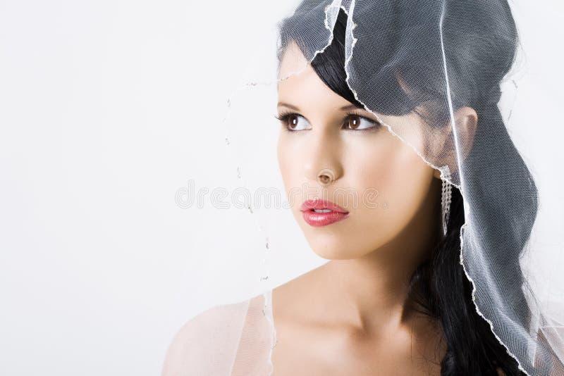 Glückliche Braut mit Schleier und den roten Lippen lizenzfreie stockbilder