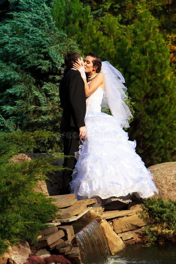 Glückliche Braut und Bräutigam lizenzfreie stockfotografie