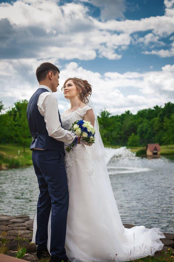 Glückliche Braut und Bräutigam, die in der Natur nahe dem See mit Brunnen lächelt stockbilder