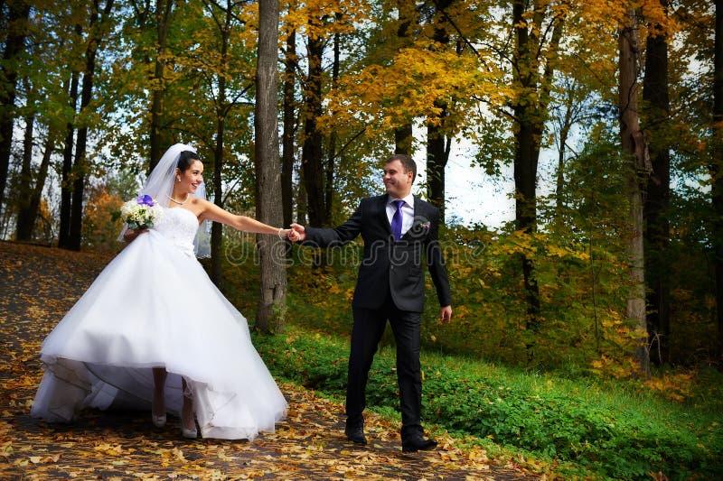 Glückliche Braut und der Bräutigam, die in Herbst geht, parken lizenzfreies stockfoto