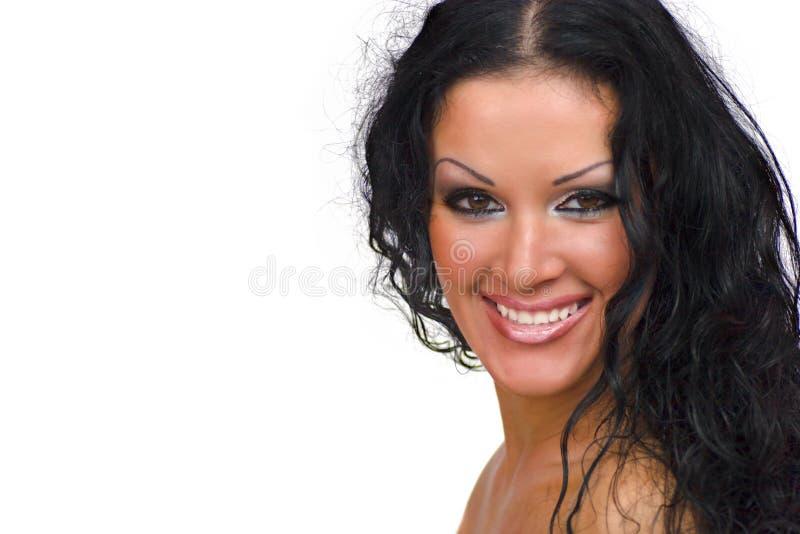 Glückliche Brunettefrau lizenzfreies stockfoto