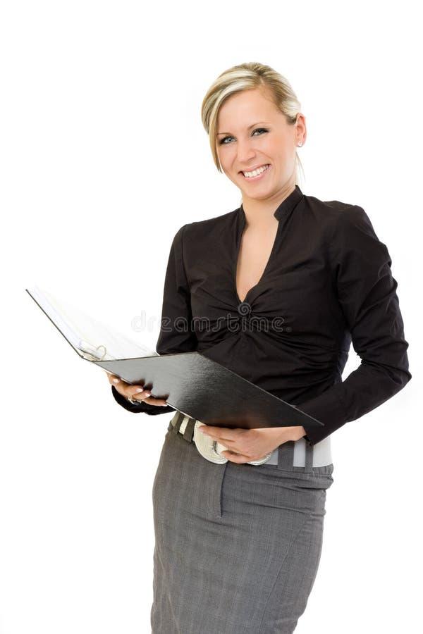 Glückliche BuchprüferGeschäftsfrau stockfoto