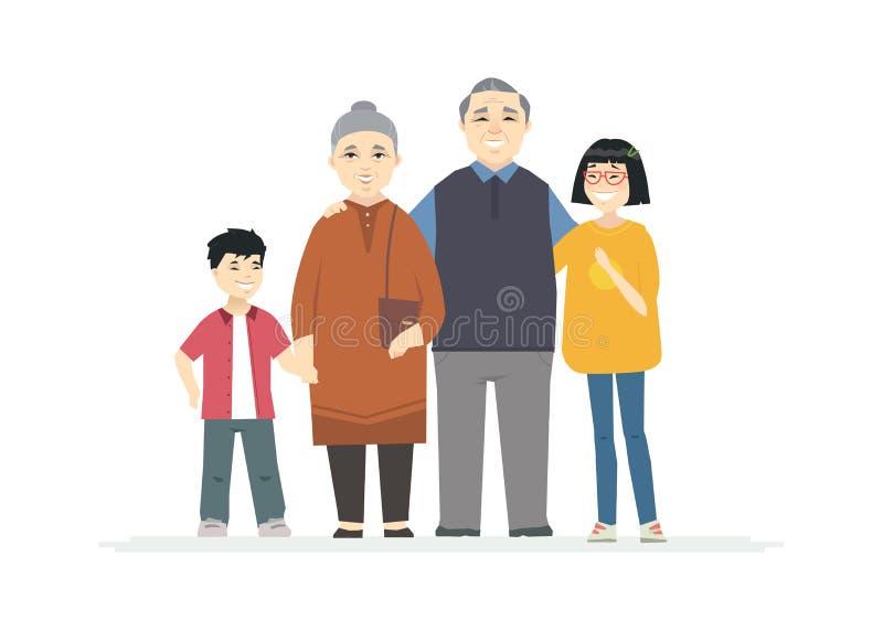 Glückliche chinesische Großeltern - Karikaturleute-Charakterillustration stock abbildung