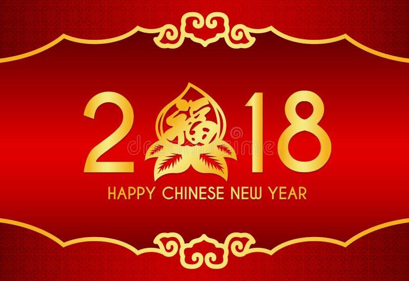 Glückliche chinesische Karte des neuen Jahres mit 2018 Text-, Pfirsich- und chinessspitze und chinesischem Wort des Unterseitenra lizenzfreie abbildung