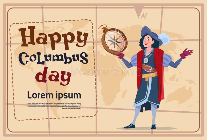 Glückliche Columbus Day Amerika Discover Holiday-Plakat-Gruß-Karte vektor abbildung