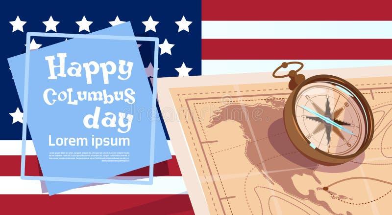 Glückliche Columbus Day Amerika Discover Holiday-Plakat-Gruß-Karte stock abbildung