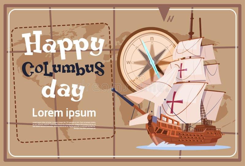 Glückliche Columbus Day Amerika Discover Holiday-Plakat-Gruß-Karte lizenzfreie abbildung