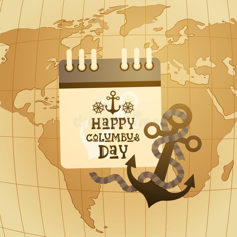 Glückliche Columbus Day Amerika Discover Holiday-Plakat-Gruß-Karten-Retro- Weltkarte lizenzfreie abbildung