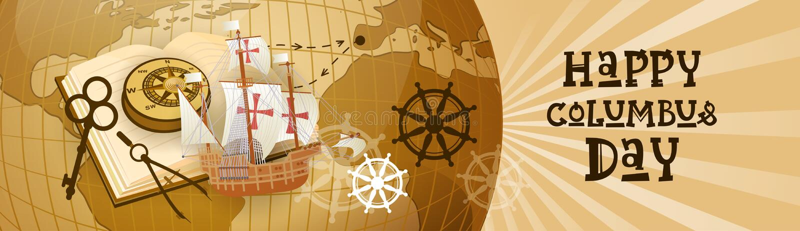 Glückliche Columbus Day Amerika Discover Holiday-Plakat-Gruß-Karten-Retro- Weltkarte-horizontale Fahne stock abbildung
