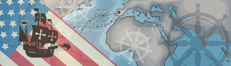 Glückliche Columbus Day Amerika Discover Holiday-Plakat-Gruß-Karten-Retro- Weltkarte-horizontale Fahne lizenzfreie abbildung