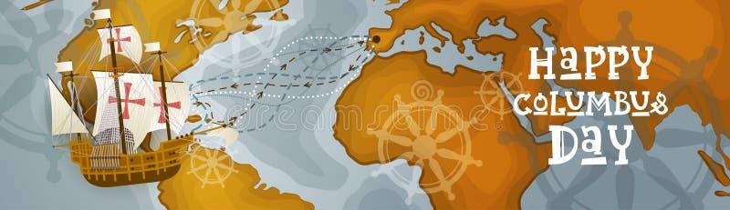 Glückliche Columbus Day Amerika Discover Holiday-Plakat-Gruß-Karten-Retro- Weltkarte-horizontale Fahne vektor abbildung