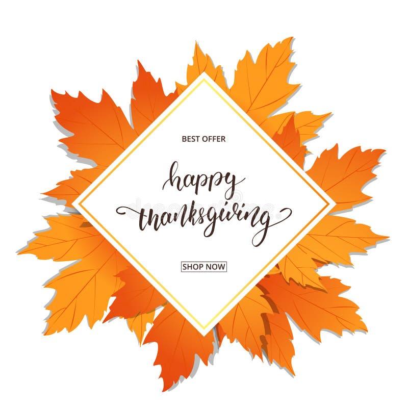 Glückliche Danksagung Verkaufsfahne für Danksagungs-Tag Übergeben Sie Beschriftung auf dem Rahmen mit modischem Herbstlaub vektor abbildung