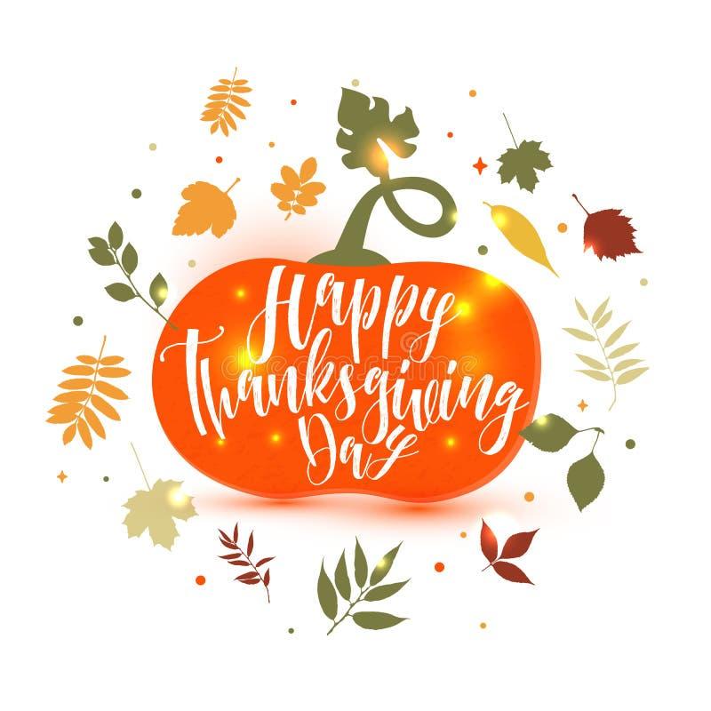 Glückliche Danksagungs-Kürbis-Ikonen-Illustration, Fall Autumn Harvest Thanksgiving Illustration lizenzfreie abbildung