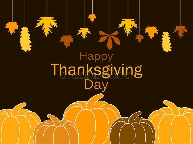 Glückliche Danksagungs-Tagesgrußkartenschablone Kürbise und hängende Blätter, eine Girlande des Herbstlaubs Festivalplakat Vektor stock abbildung