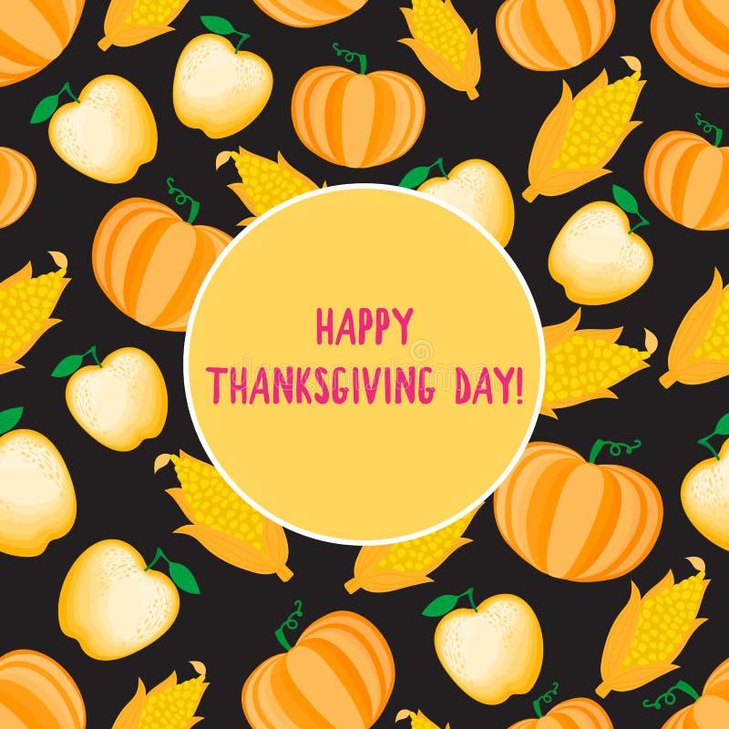 Glückliche Danksagungs-Tageskarte Karikaturkornähre nahtloses Muster Vektor ilustration lokalisiert auf dunklem Hintergrund stock abbildung