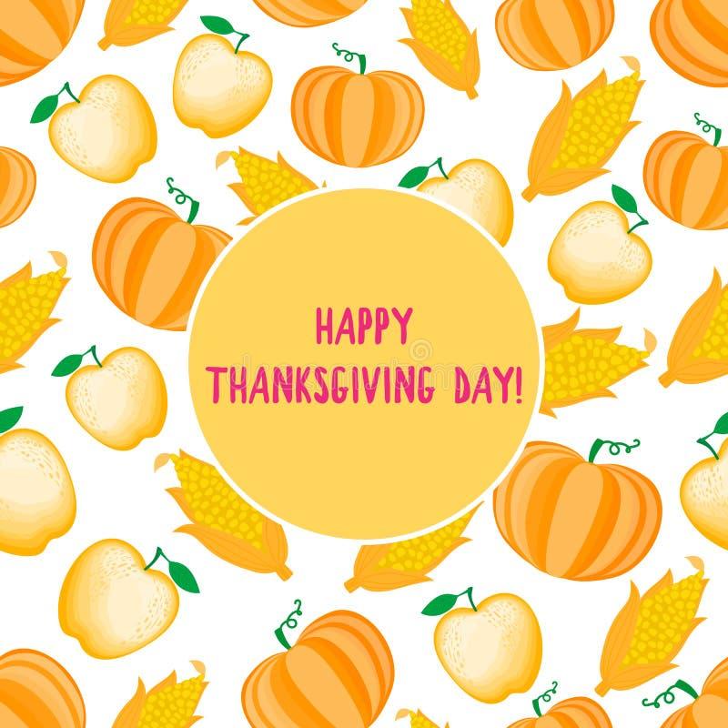 Glückliche Danksagungs-Tageskarte Karikaturkornähre nahtloses Muster Vektor ilustration lokalisiert auf weißem Hintergrund lizenzfreie abbildung