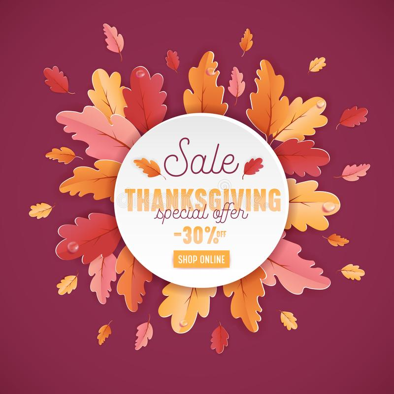 Glückliche Danksagungs-Verkaufs-Hintergrund-Schablone mit schöner Blätter Illustration für Einkaufsverkauf, Förderungsplakat vektor abbildung