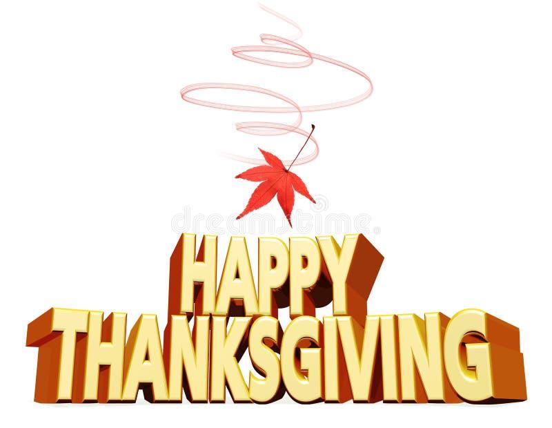 Glückliche Danksagungsgrußmitteilung lokalisiert auf weißem Hintergrund mit rotem Herbstahornblatt, Wiedergabe 3D stock abbildung