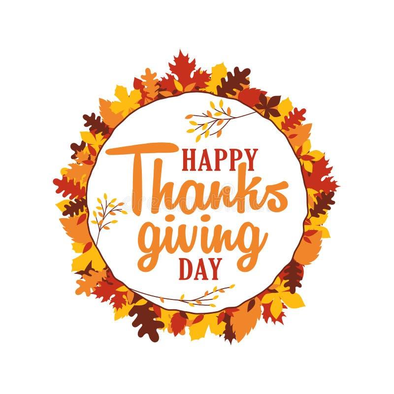 Glückliche Danksagungstagestypographie mit Herbstfall lässt Ornamentrahmen Logo, Ausweis, Aufkleber, Fahne, Aufkleber, Kartenvekt lizenzfreie abbildung