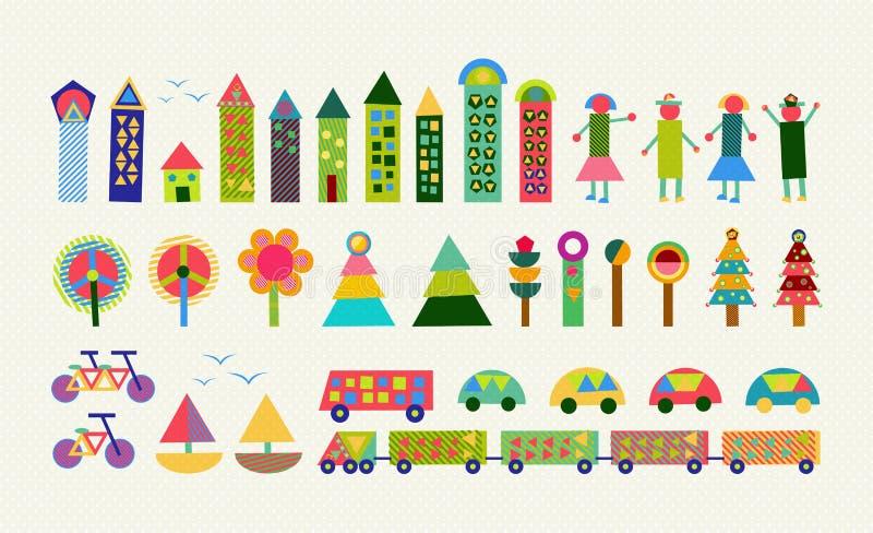 Glückliche Dekoration der Stadtelementsatz-Farbgeometrie lizenzfreie abbildung