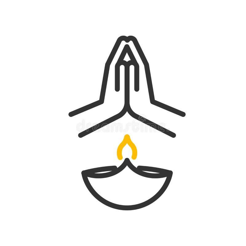 Glückliche diwali Ikone Dünnes Zeilendarstellung des Vektors mit der Lampe, Flamme und Händen, die beten vektor abbildung