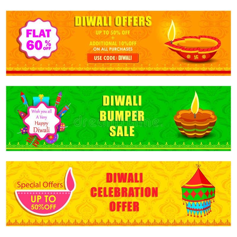 Glückliche Diwali-Urlaubsangebotfahne vektor abbildung