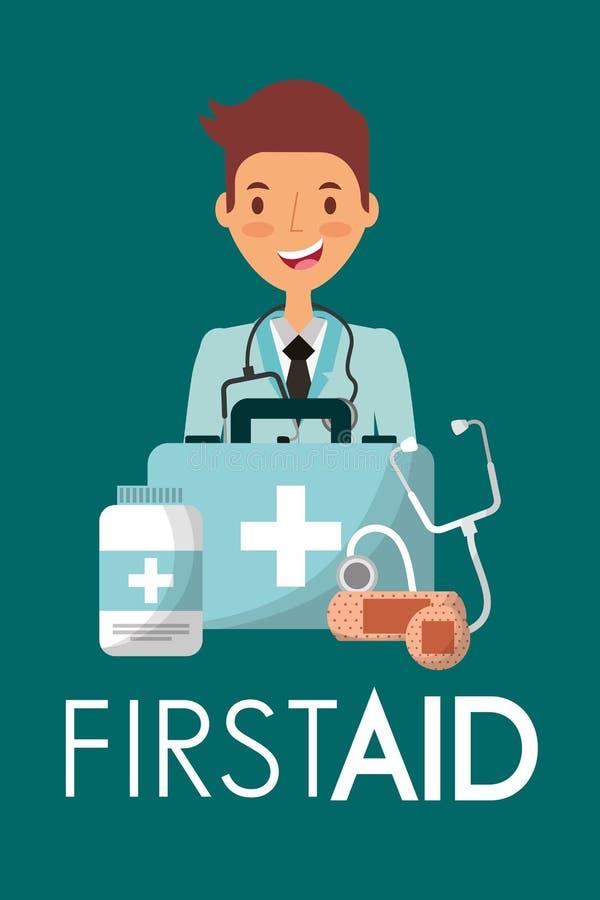 Glückliche Doktor- und Hilfekoffermedizinsorgfalt lizenzfreie abbildung