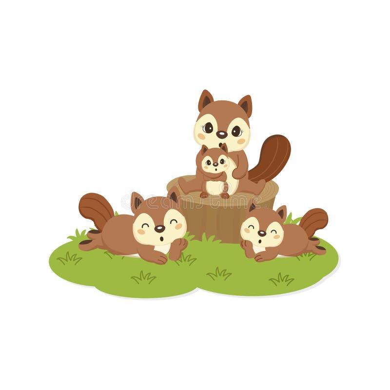 Glückliche Eichhörnchenfamilienkarikatur lizenzfreie abbildung