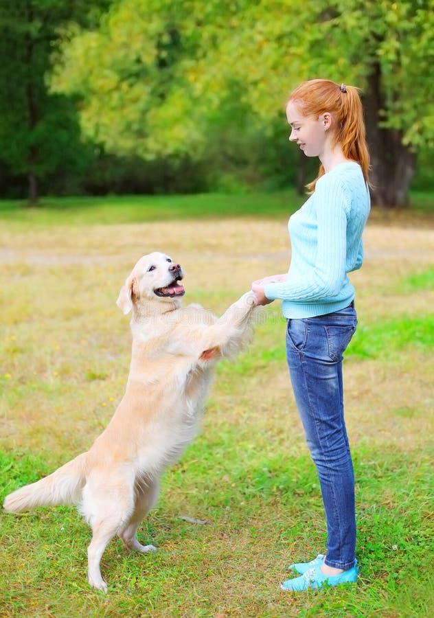 Glückliche Eigentümerfrau, die mit golden retriever-Hund auf Gras spielt stockbilder