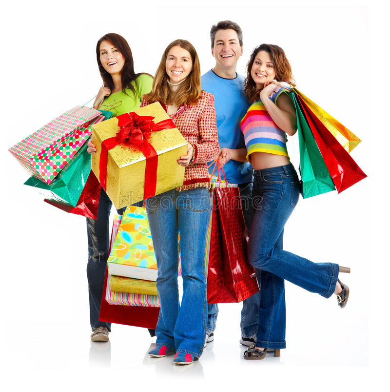 Glückliche Einkaufenleute. lizenzfreies stockbild