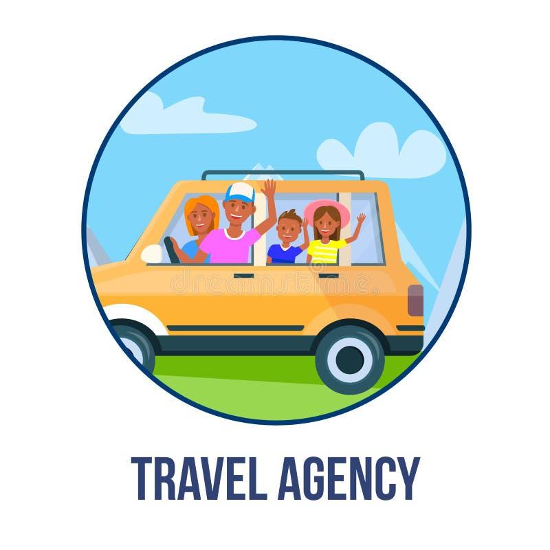 Glückliche Eltern mit den Kindern, die mit dem Auto Ikone reisen lizenzfreie abbildung