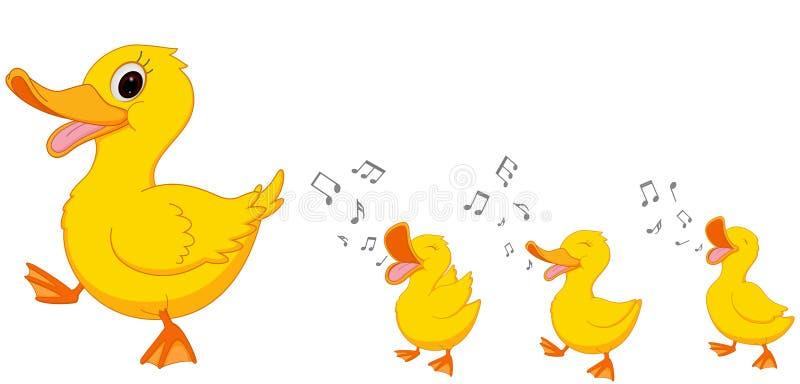 Glückliche Entenfamilienkarikatur lizenzfreies stockbild