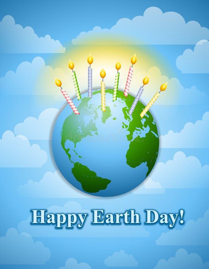 Glückliche Erde-Tagesgeburtstag-Kerzen stock abbildung