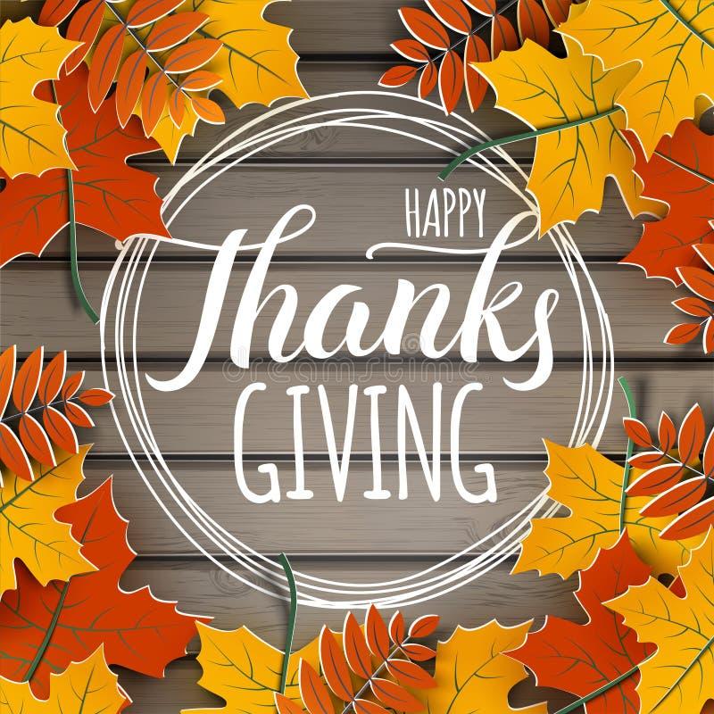 Glückliche Erntedankfestfahne mit Glückwunschtext auf Rahmen Herbstbaum verlässt Grenze, hölzernen Hintergrund Herbstliche Ausleg vektor abbildung