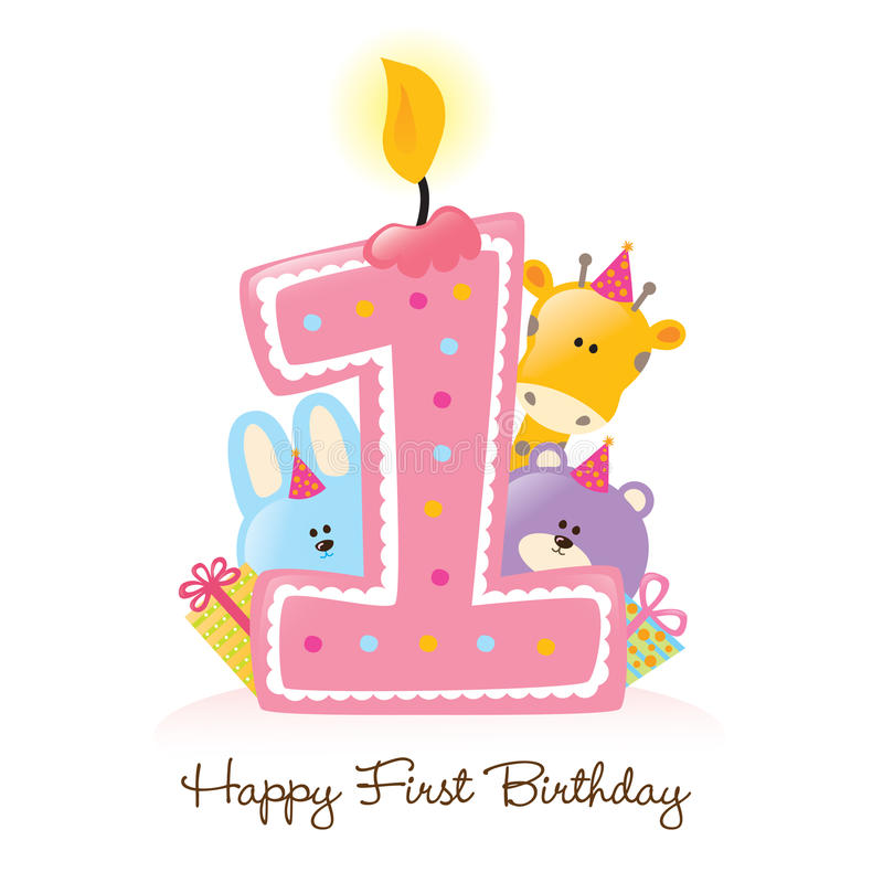 Glückliche erste Geburtstag-Kerze und Tiere getrennt stock abbildung
